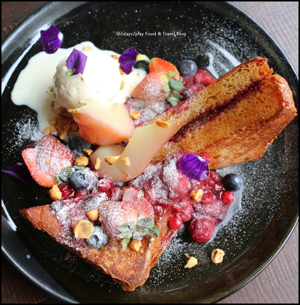 Botanist - French Toast (fried brioche, rhubarb berry marmalade, fresh berries, almond flakes, poached pear, vanilla ice-cream) $18 (2)