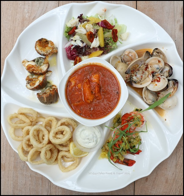 Coastes - Seafood Platter $52 (Pan-fried crayfish, crab salad, fish stew, poached tiger prawns, chilli clams, calamari rings) (1)
