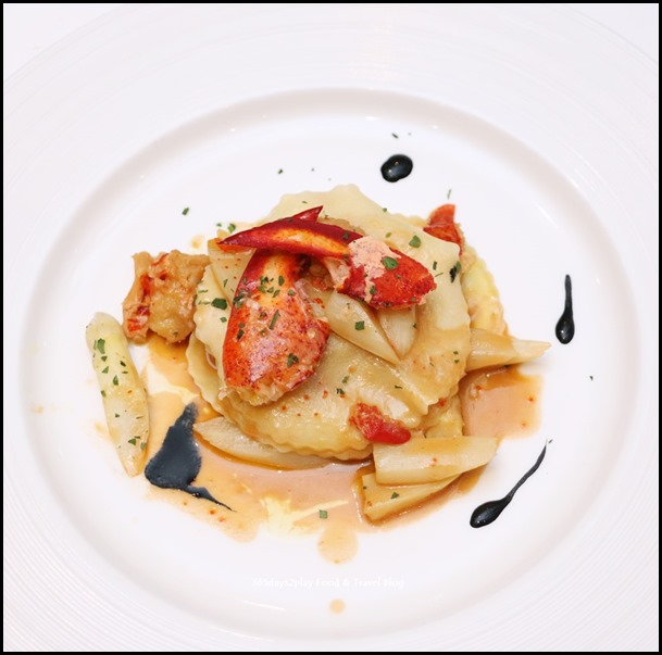 Marriott Pool Grill - Contemporary (Raviolo, white asparagus, lobster ragout, squid ink, parsley) $38 (2)