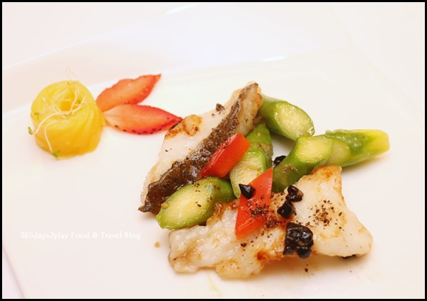 Sauteed Grouper Fillet with Black Garlic and Asparagus