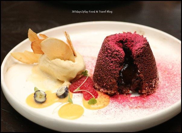 The Disgruntled Brasserie - Chocolate Fondant (Creme anglaise, pistachio ice cream) $18