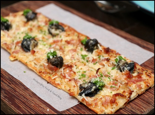The Disgruntled Brasserie - Escargot Tarte Flambee (Lardon, onions, creme fraiche, persillade) $16