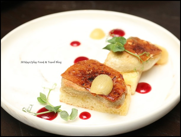 The Disgruntled Brasserie - Foie Gras & Peanut Butter Miso (Blackcurrant gel, poached grapes, brioche) $18