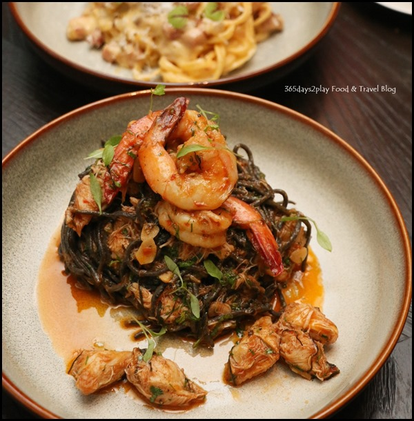The Disgruntled Brasserie - Homemade Squid Ink Pasta (Squid ink pasta, crab meat, shrimps, chilli) $28