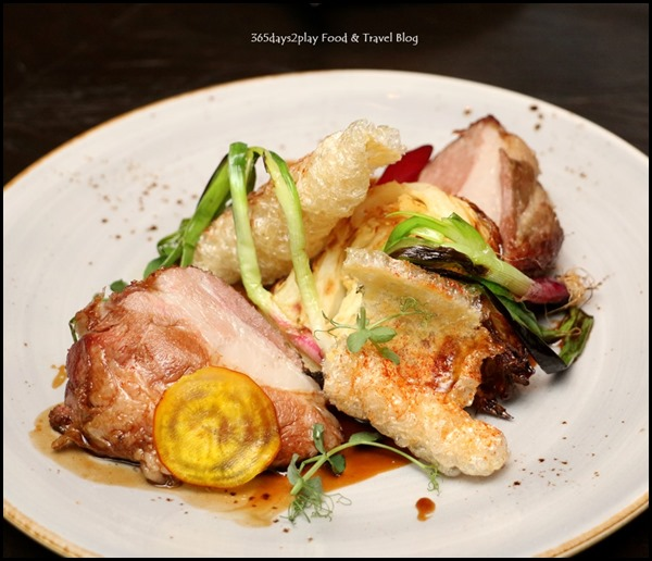 The Disgruntled Brasserie - Iberico Pork Collar (Caraway milk poached caramelised cabbage, Jerusalem artichoke puree, grilled scallions,star anise jus) $32