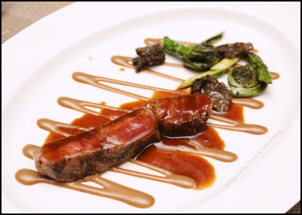 The Knolls - Grilled Japanese beef loin, asparagus & sauteed fiddlehead, morel coulis $72