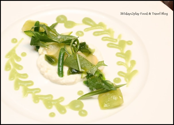 The Knolls - M. Matsubara's ricotta, spring vegetable composition & green tomato coulis $36