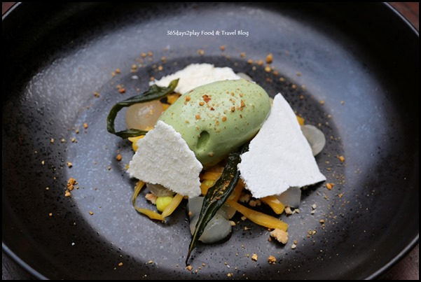Botanico at The Garage - Tropical Fruits Dessert (Laksa Leaf Ice Cream, Tumeric Ganache, Palm Fruit and Jackfruit)