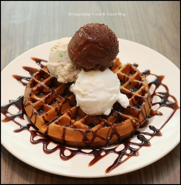The Butcher's Kitchen - Waffles with 3 scoops of ice cream $14.80
