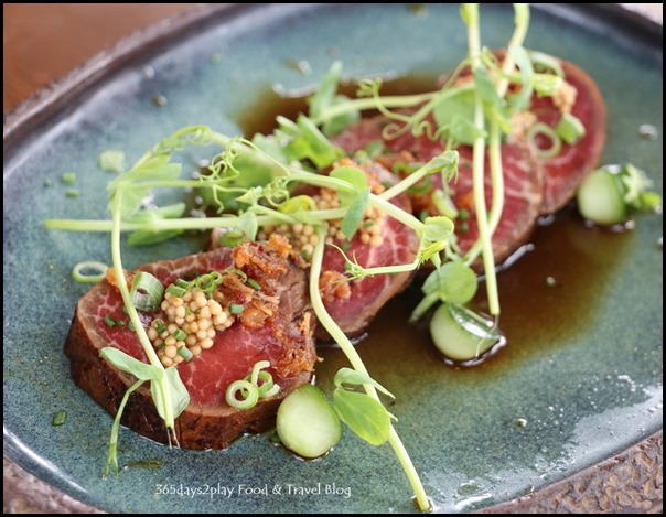 LeVeL33 - Beef Tataki (Argentinian tenderloin, served rare, pickled mustard seeds, cucumber, Level33 XO sauce) $24 (1)
