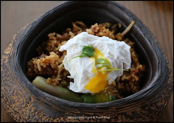 LeVeL33 - Fried Rice (Braised beef brisket, lightly spiced, fermented greens, poached egg) $14.50