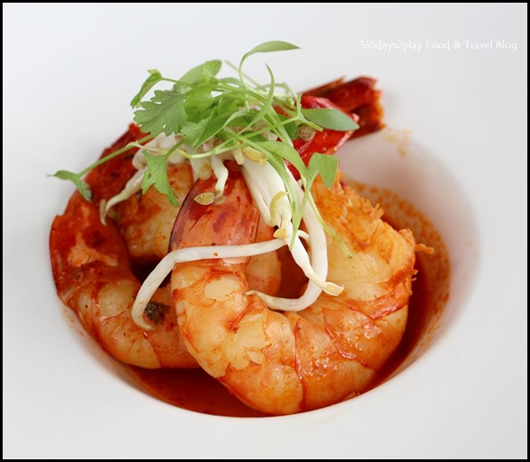 LeVeL33 - Tiger Prawn (Goan masala paste, pickled bean sprouts, coriander broth) $18