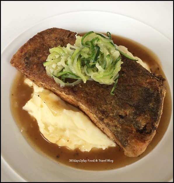 Meats & Malts - Baked Salmon (Lightly marinated salmon on mashed potato and zucchini spaghetti) $16.80