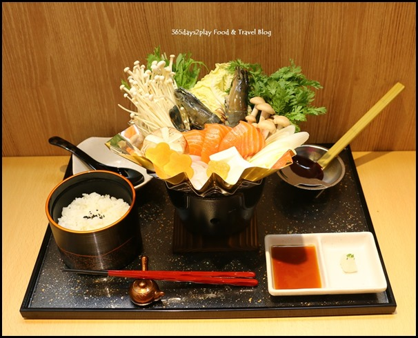 Misato - Seafod Kaminabe Set (Japanese hotpot with tiger prawns, Norwegian salmon, chicken, assorted mushrooms, toufu) $20.80  (1)