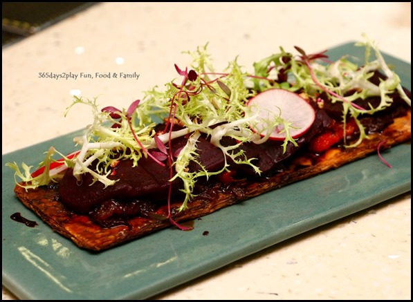 Halia - Carmalised Onion and Beetroot Tart ($17  ) Puff pastry, feta cheese, balsamic glaze