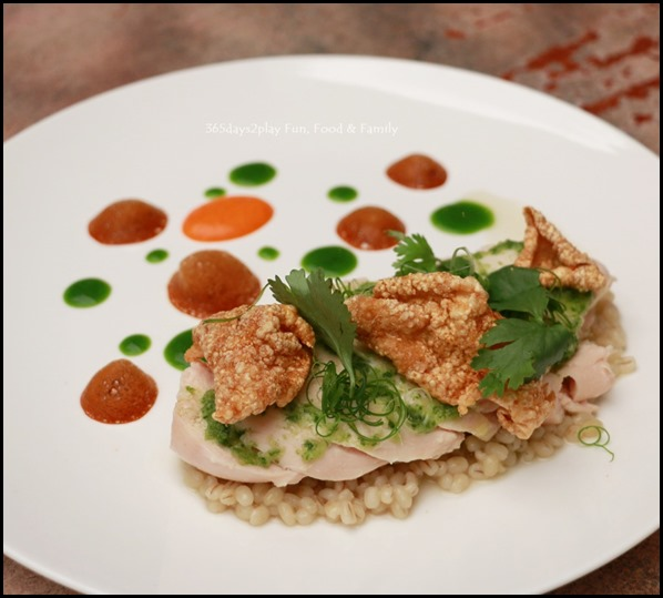 Antoinette - Chicken Rice with poached chicken breast, ginger scallion dressing and barley $26 (1)
