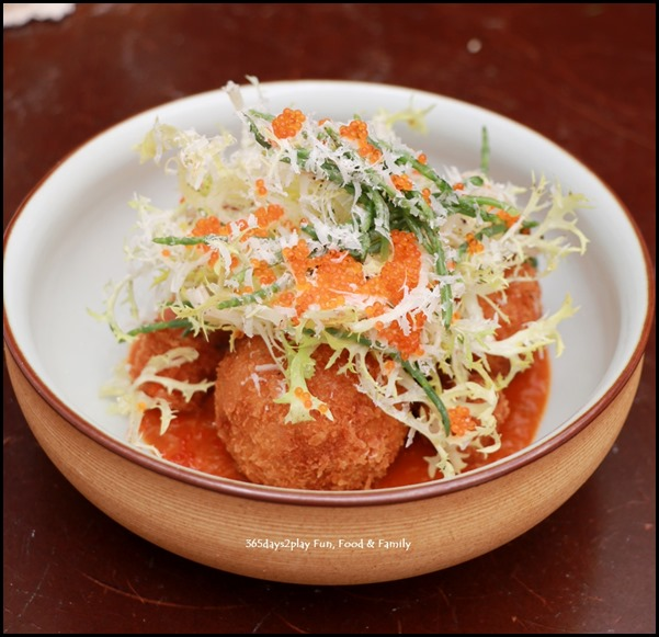 Antoinette - Chilli Crab Arancini with sea asparagus salad and chinese bun $16