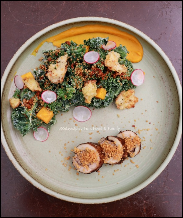 Antoinette - Kale caesar salad with salted fish dressing, 5 spice roasted chicken leg and butternut squash $22 (2)