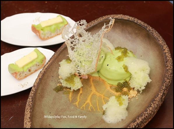Antoinette -Pandan (foam, sponge, ice cream, salted gula melaka, rusks) $14 (1)