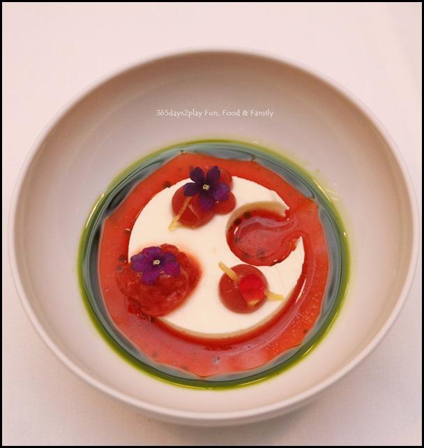 Fisk - Sour Cream Mousse (strawberry consomme, preserved lemon, basil oil)