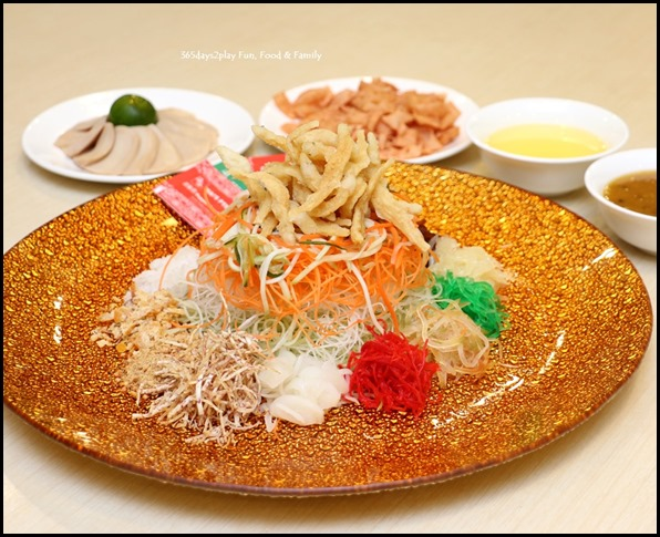 Prosperity Lo Hei with Abalone Slices & Sliver Fish in Passion Fruit Sauce