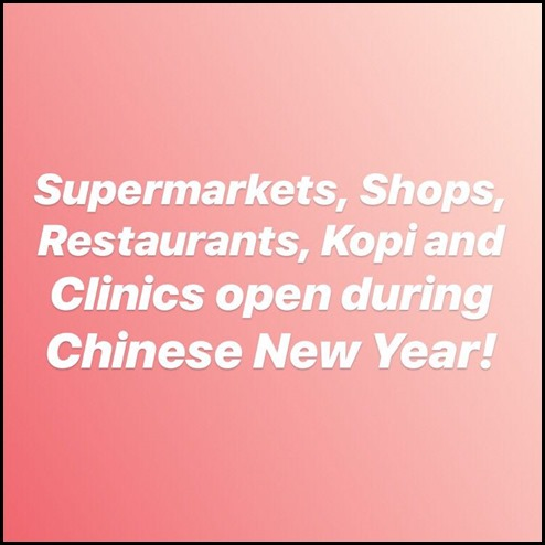 What is open during CNY 2018
