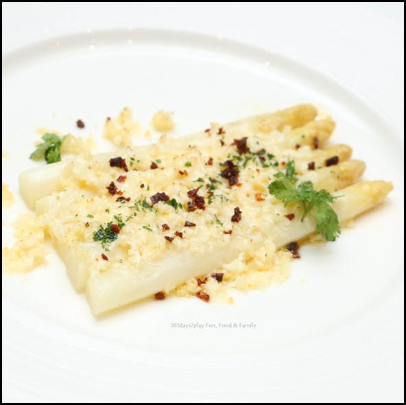 Marriott Pool Grill - Mimosa Style Gratinated White Asparagus with Manchego Cheese & Chorizo Migas ($24   per portion) (2)