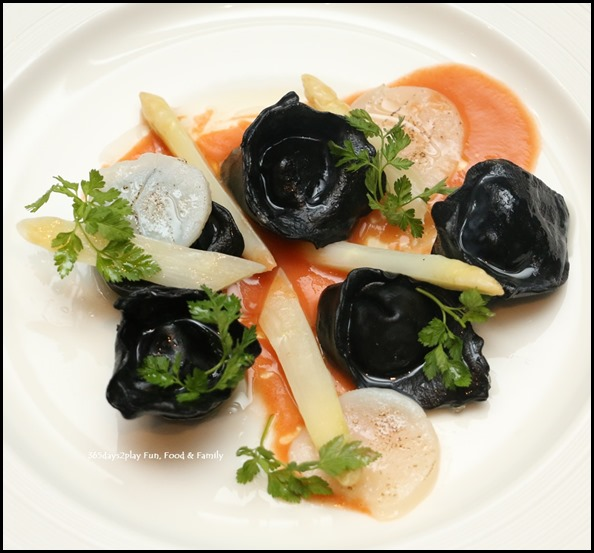 Marriott Pool Grill - Squid Ink and Scallop Ravioli with White Asparagus & Tomato Butter ($38   per portion) (2)