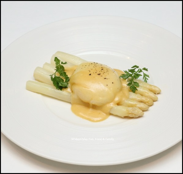 Marriott Pool Grill - Steamed White Asparagus with Poached Egg & Hollandaise Sauce ($22   per portion)
