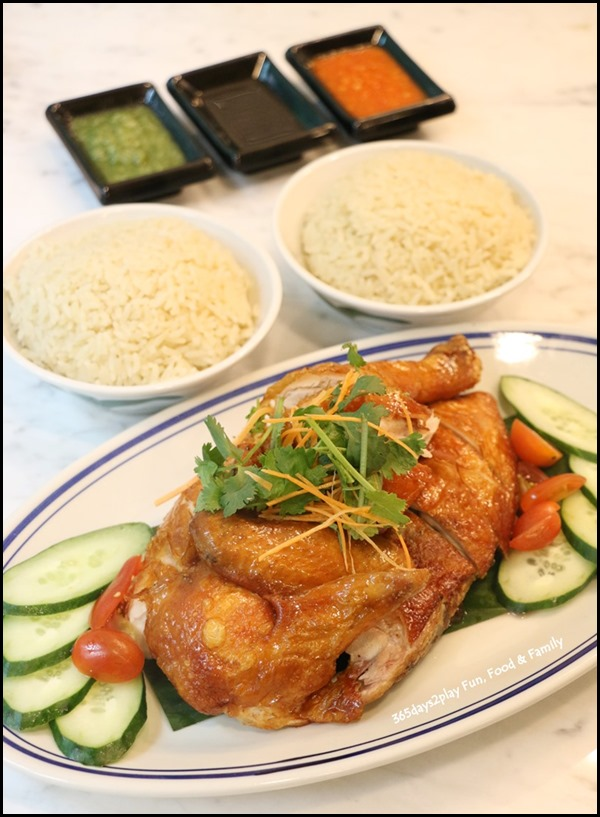 Colonial Club - Crispy Skin Roast Chicken with Aromatic Hainanese Chicken Rice (Half chicken $18 Whole Chicken $36)