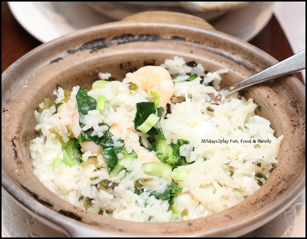 Hai Tien Lo Claypot dishes - Poached rice with prawns and preserved veg