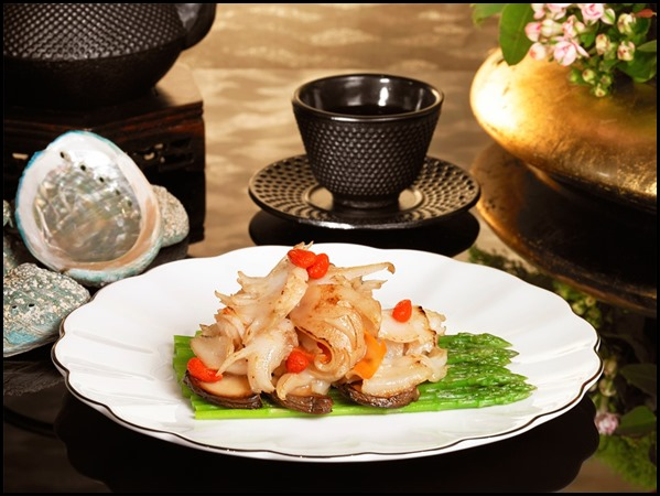 Wan Hao Chinese Restaurant - Stir-fried Live Abalone Slices with Baby Asparagus _ King Mushroom