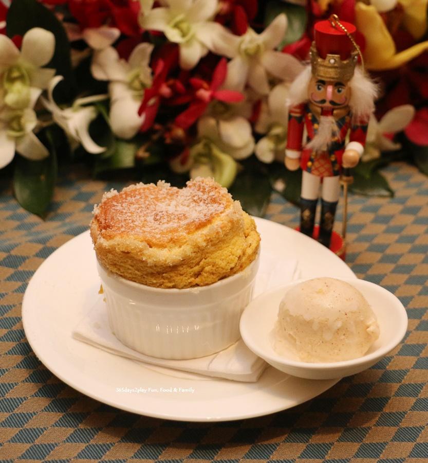 Four Seasons Hotel Singapore - Spiced Pumpkin Souffle with cinammon ice-cream