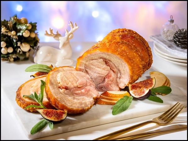 Marriott Cafe - Signature Roast Pork Saddle stuffed with Pancetta, Prunes _ Mixed Herbs