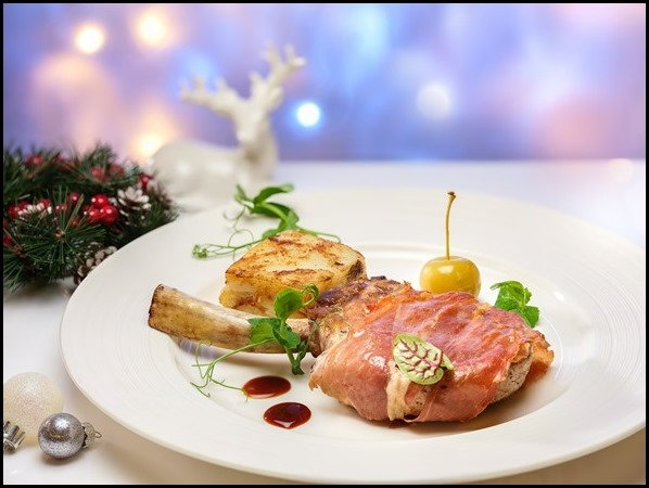 Pool Grill - Prosciutto Wrapped Pork Iberico Cutlet with Truffle Potato Gratin, Granny Smith Apple Puree and Madeira Sauce