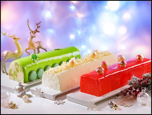 Singapore Marriott Tang Plaza Hotel Pistachio Cream Cheese Log Cake, White Forest Buche de Noel, Raspberry Gula Melaka Coconut Log Cake