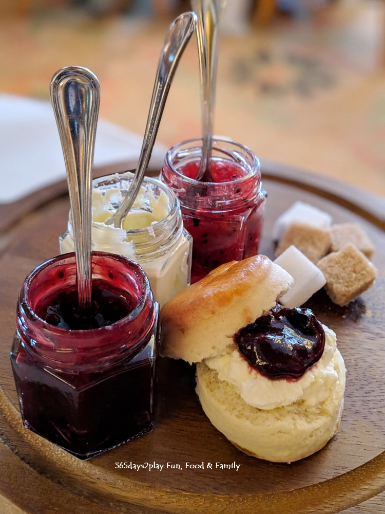 Conrad Sakura Afternoon Tea - Warm scones served with clotted cream, wild berry jam and dragon fruit raspberry jam