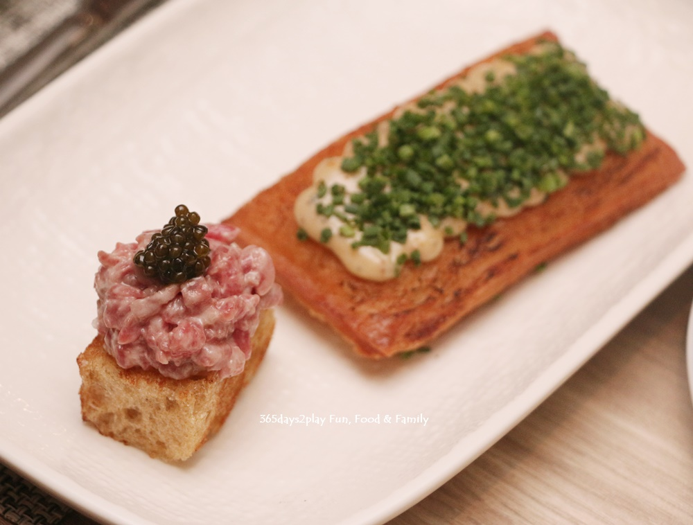 Lobster and Prawn Toast, Spicy Tobiko $8 1 pc