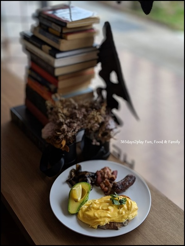 Hei Kim Cafe - Breakfast plate with scrambled eggs, grilled sausage, bacon, mushrooms and avocado $17 (1)