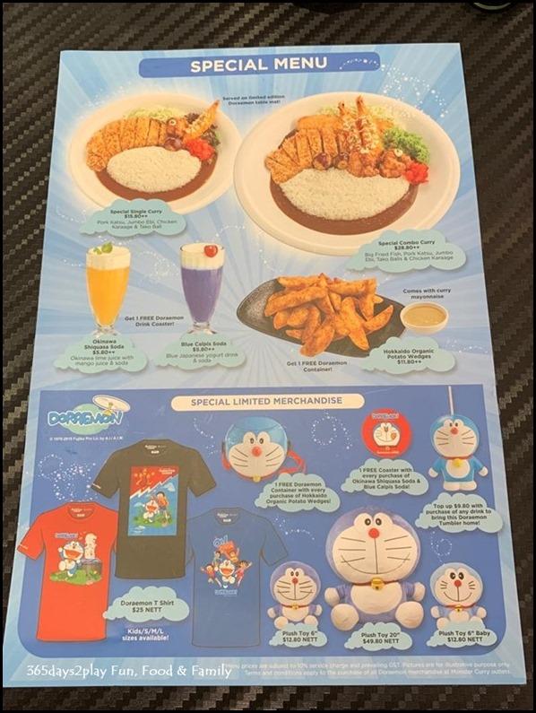 Monster Curry Special Doraemon Menu