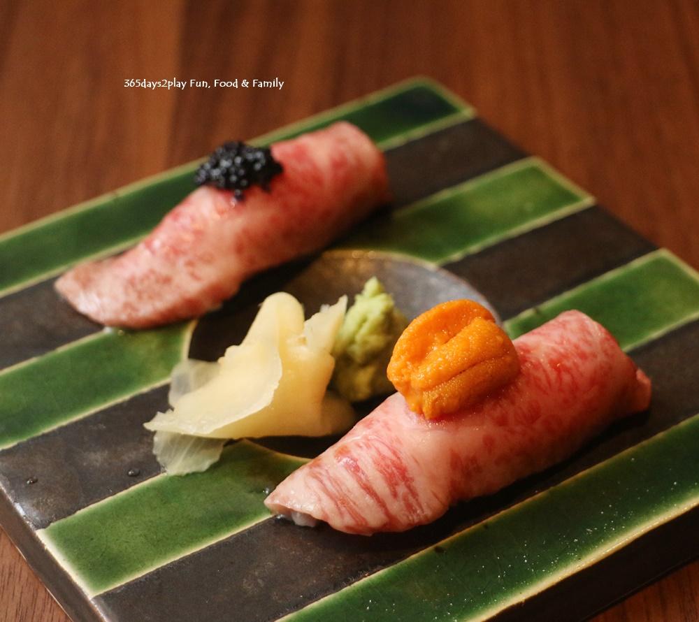 Teppan Kappou Kenji - From the Seasonal Menu A5 Wagyu Aburi Sushi ($18, 2pcs)