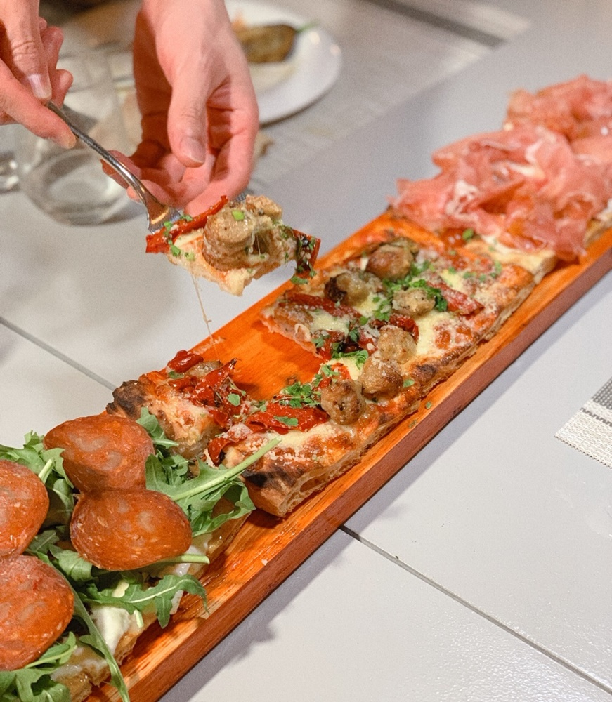 Roots Mediterranean - Parma and Burrata, Salami and Truffle, Prawn Arrabbiata, Sausage Pizza (25cm $18, 50cm $26, 1 metre S$50)