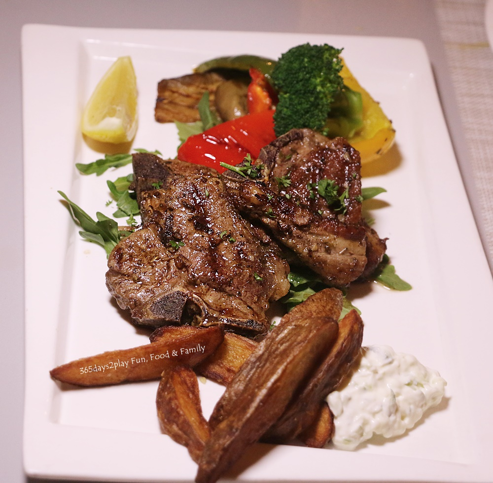 Roots Mediterranean - aidakia (Greek style Lamb Chop. Marinated with oregano, garlic and lemon with grilled vegetables, mixed salad and tzatziki sauce on the side - S$35