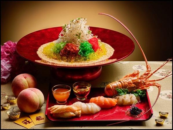 Lobster, Alaskan Crab, Scallop, Salmon _ Caviar with White Peach Dressing Yu Sheng