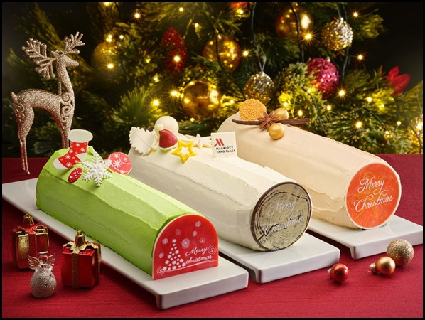Marriott - Pandan _ Mixed Berries Chiffon Log Cake, Brandy White Chocolate Chestnut Log Cake, Peanut Butter Speculoos Praline Log Cake