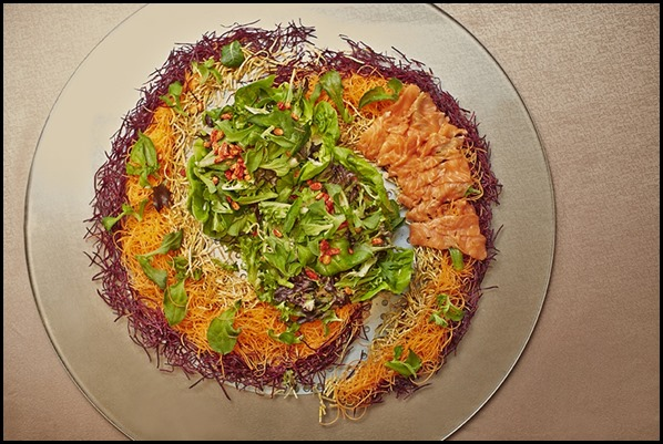 Prosperity Yu Sheng (Salmon Belly) with Organic Seasonal Greens and wolf...
